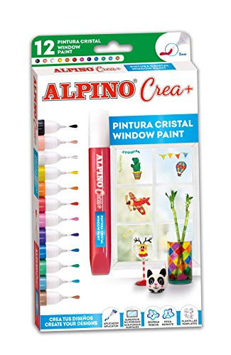 Pintura para Cristal Alpino Crea+ - Pinturas para Niños con 12 Colores...