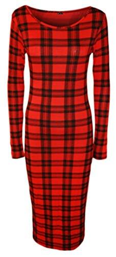 Elum - Vestido para Mujer, Manga Larga, Estampado, elástico, con Maillot Rojo Tartan Red 40-42