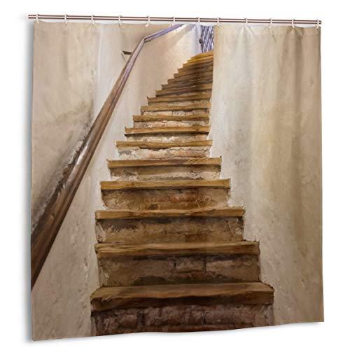 Cortina de baño para decoración de baño Juego de Cortinas,escaleras en el Castillo Kufstein Arquitectura y Fondo de Viaje Cortinas de baño de Tela con Ganchos 150cmx180cm