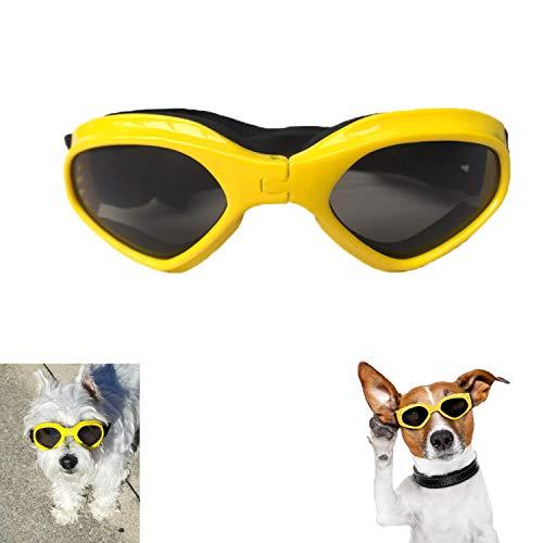 XUNKE Gafas de Sol para Perros, Perro Gafas para Perros pequeños y medianos Impermeable Plegable Protector Ocular Protección UV Antivaho (Amarillo)