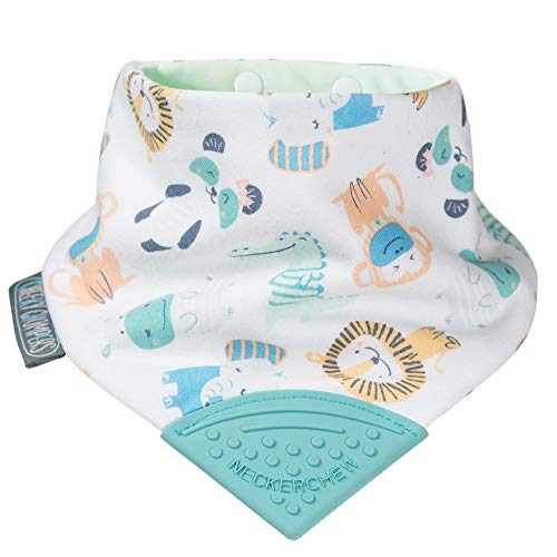 Teething Bibs for Toddlers and Babies - Bandana Style Dribble Bib with Silicone Teether - Multi Award Winning Neckerchew Design By Cheeky Chompers - Super Hygienic + Absorbent (Cheeky Animals)