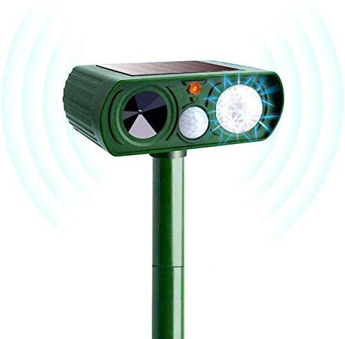 Ultrasonic Animal Repeller Solar Powered Waterproof Outdoor Cat Repeller with Motion Sensor with LED Light Farm Yard Garden Get Rid of Dogs, Cats, Foxes, Skunk, Rod, Squarrels (Green)