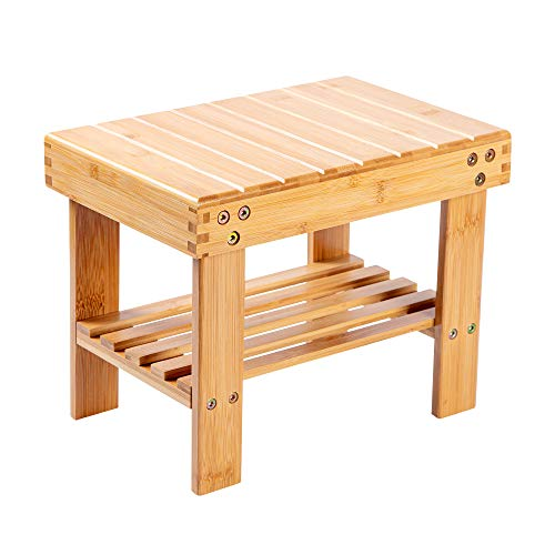 VaeFae Bamboo Small Seat Stool for Kids, Foot Rest Shaving Stool,Storage Shelf, Durable Lightweight and Anti Slip, for Home, Bathroom,Bedside | Nursery School