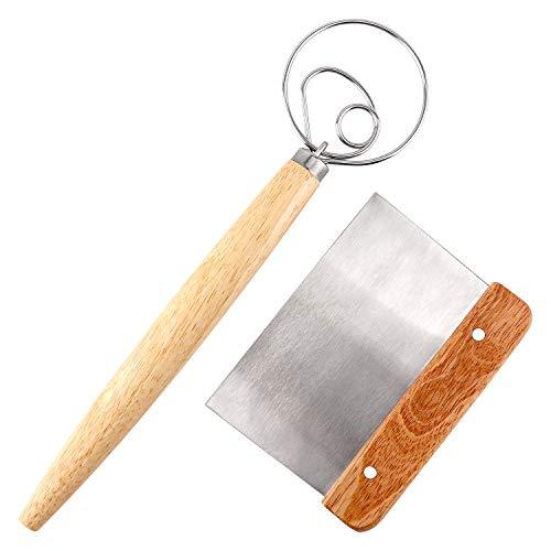 LUTER 2-teiliges Brotbackwerkzeug - Dänischer Teig Schneebesen und Teigschaber Edelstahl, Handteigmischer zum Backen
