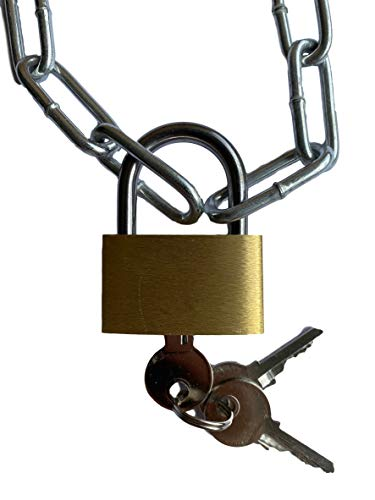 Stahlkette mit Vorhängeschloss | Inkl. 3x Schlüssel | Länge zwischen 25cm bis 250cm auswählen | 25mm Schloss + 2x22x8mm Kette verzinkt (25cm)