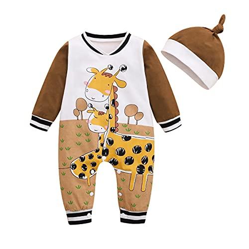 Alunsito Baby Little Girls Boys Cartoon Animal Pagliaccetto Tuta Abiti con cappello Salopette per bambini Pagliaccetti autunnali Set Marrone 9-12 mesi