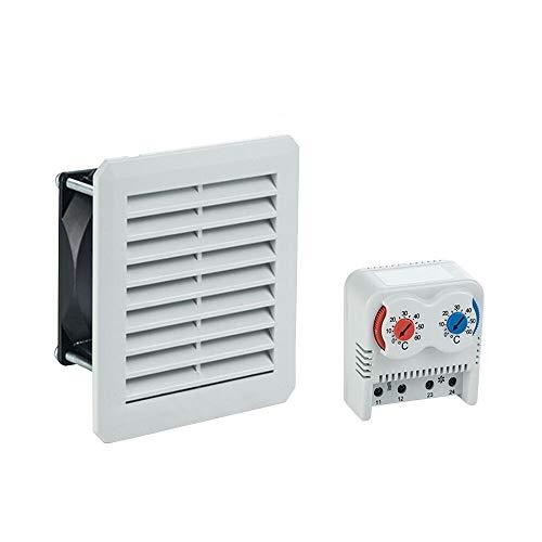 Schaltschrank Lüfter 160 x 160 cm 100 m³ / h mit Filtermatte + Thermostat 2 fach warm/kalt 0-60° Filter matte 160x160 Set Schaltschrank Industriegehäuse Gehäuse Leergehäuse Schrank ARLI