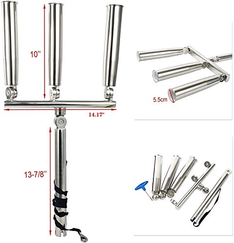 Polished 3 Tube Silver Stainless Steel Trident Outrigger Triple Rod Holder