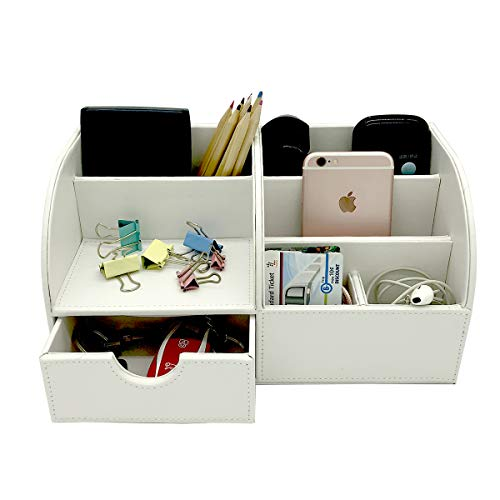 UnionBasic Office Desk Organizer - Multifunctional PU Leather Desktop Storage Box - Business Card/Pen/Pencil/Mobile Phone/Stationery Holder (White)