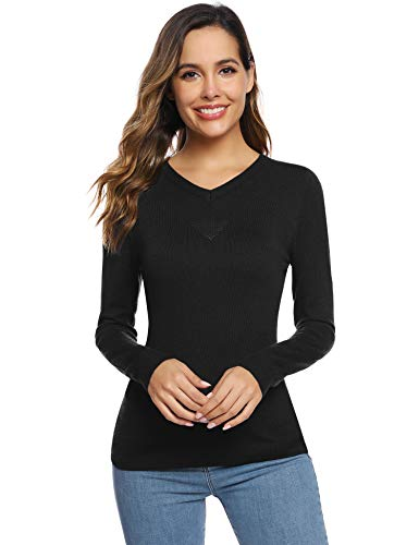 Abollria Pull Femme Hiver Col V Tricot Chaud sous Pull Top...
