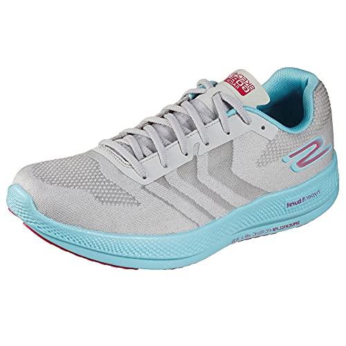 Skechers Damen GO Run Razor 3+ Sneaker, Grau Mesh Hot Melt Aqua Hot Pink Besatz, 39.5 EU