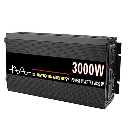 FDQNDXF Inversor de Onda Sinusoidal Pura 3000W / 4000W / 4500W DC 12V / 24V / 48V / 60V a AC 220V Convertidor de Energía para Automóvil con Salidas de CA y Pantalla LED, para Camión RV