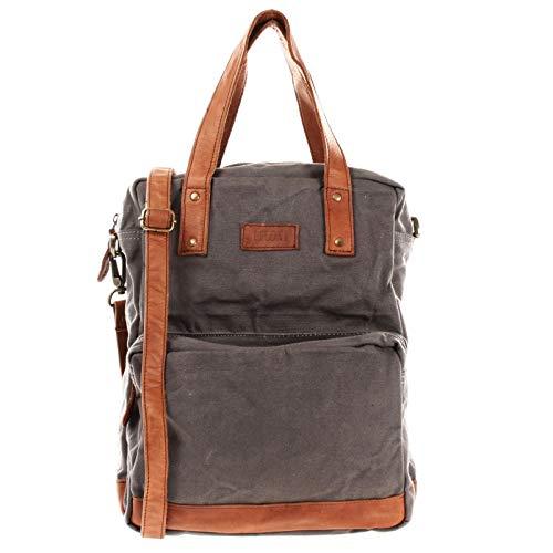 LECONI Rucksack & Umhängetasche in einem für Damen & Herren Retro Backpack Canvas + echtes Leder Bodybag DIN A4 Schultertasche 2in1 Freizeitrucksack 28x37x13cm grau LE1014-C