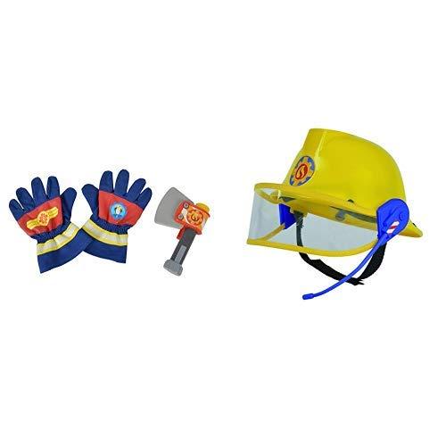 Simba 109252105 Feuerwehrmann Sam Feuerwehr Handschuhe und Axt &  109258698 - Feuerwehrmann Sam Helm in gelb 23 cm