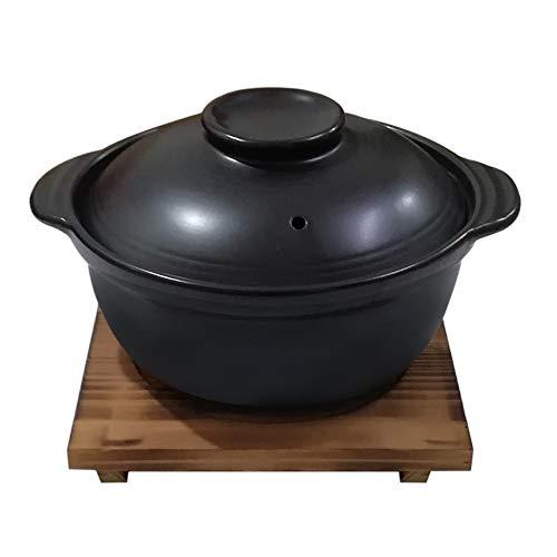 Korean Premium Ceramic Black Casserole Clay Pot with Lid,For Cooking Hot Pot Dolsot Bibimbap and Soup