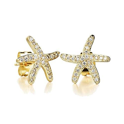 Blanco Crystals from Swarovski Estrellas de mar Pendientes 18k Chapado en oro para mujer y niña