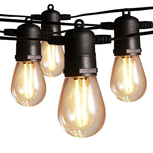 Guirnaldas Luces Exterior Luminosas 15 metros, Ltteny LED IP65 G40 Cadena de Luz con 15+3(Bombillas de Repuesto), Decoración para Interior Patio Terraza Fiestas Navidad.