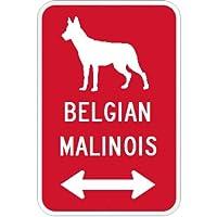 BELGIAN MALINOIS マグネットサイン レッド:ベルジアンマリノア(小) シルエットイラスト&矢印 英語標識デザイン Water Resist.