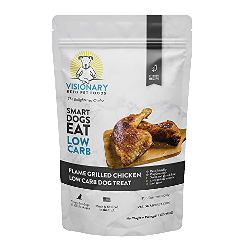 Visionary Pet Low Carb Dog Treats - Biscuit Training Treats, High-Protein, Small, Medium, Large Dogs, Grain-Free - Flame Grilled Chicken (7oz Bag)