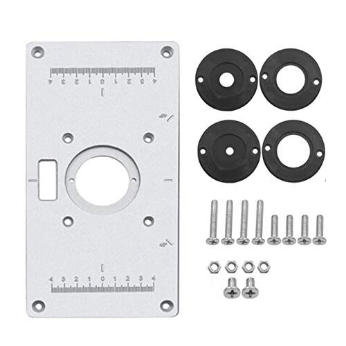 Router Platte Aluminium Router Tabelle Insert Plate DIY Fräser Tischplatte Für Die Holzbearbeitung Bänke mit 4 Ringen und Schrauben,235 x 120 x 8mm