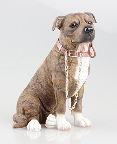Leonardo Figurine de décoration et de collection, chien Staffordshire Bull Terrier, marron