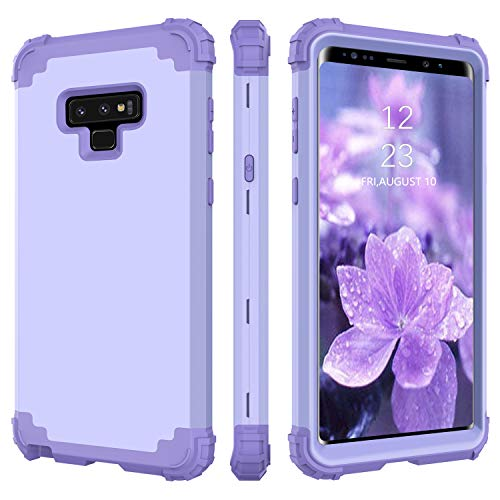 BENTOBEN Case for Samsung Note 9, 3 in 1 Design Hybrid Hard PC Soft Rubber Heavy Duty Rugged Bumper Shockproof Drop Protection Full Protective Girly Women Phone Cover for Galaxy Note 9,Purple/Lavender