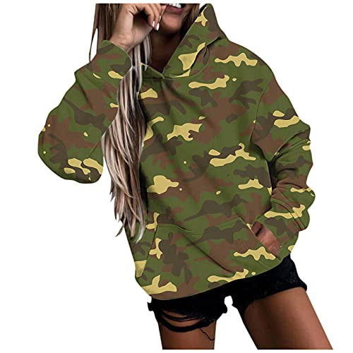 WAo Sudadera con capucha de camuflaje y rayas para mujer con capucha de manga larga con cordón, Camuflaje-verde, XL