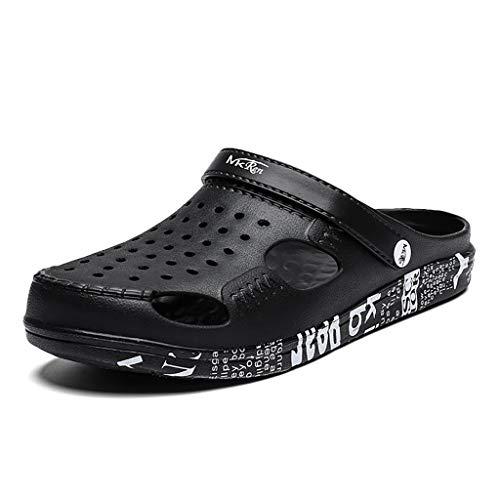 JXILY Crocs Classic Slip Zueco Cómodo sobre El Casual Agua Zapatos De Los Zapatos del Agua del Jardín,Negro,40