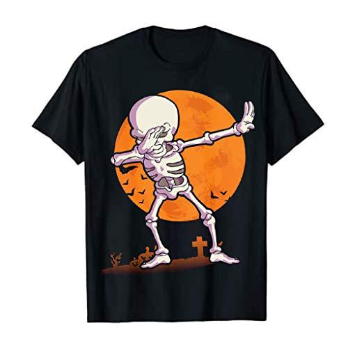 Pwtchenty Happy Halloween Gruseliges Zombie Skelett Kürbis Halloween T-Shirt