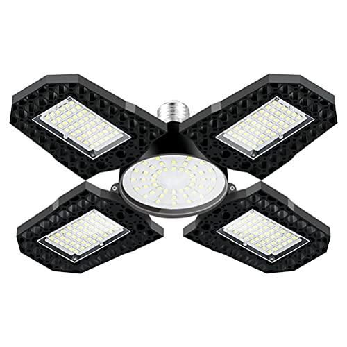 Ayaaa Lámpara de Taller, plafón LEDLuz de Garaje LED Luz de Garaje de 120W Luz de Garaje de 15000LM LED con 4 + 1 Paneles multiposición Iluminación de Garaje deformable E26/E27