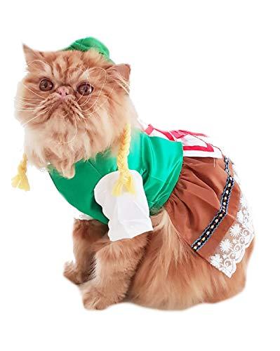 Glamour Girlz Super Leuke Honden Katten Aankleden Halloween Grappige Vrouwelijke Dirndl Jurk Kostuum Oktoberfest Duitse Lederhosen Outfit, Large, Meerkleurig