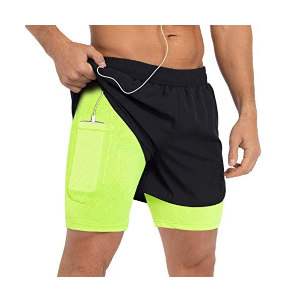 Gesean Men's 2 in 1 Workout Running Shorts 5″ Lightweight Gym Training Sport Short with Phone Pockets