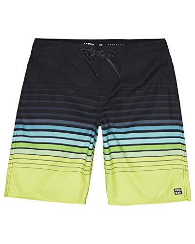 """BILLABONG - All Day Stripe 20"""" Bañador de Surf de pantalón, Amarillo (Lime), 32"""
