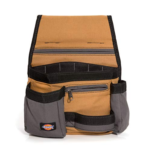 Dickies 11-Pocket Tool / Utility Storage Pouch for Tool Belt, Durable Canvas, Puncture-Resistant Backing, Screwdriver Pockets, Zippered Security Pocket, Hammer Loop, 2-inch Tunnel Loop, Grey/Tan