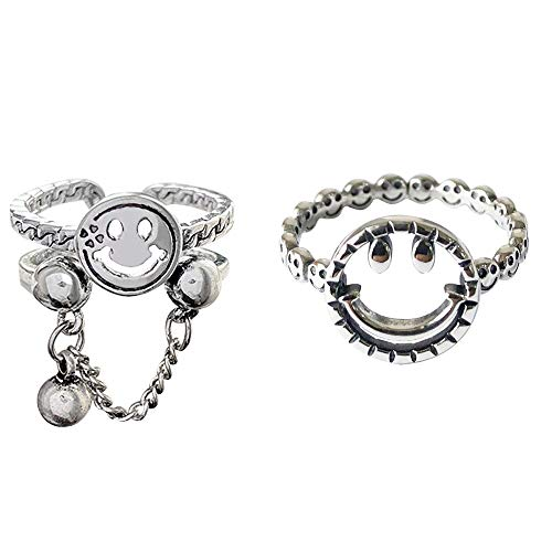 GulCean Smiley Rings for Women Men Unisex 925 Silver Adjustable Vintage Stylish Cool Goth Hippie Kpop Edgy Emo Anime Chain Ball Stacking Hollow Smile Face Ring Set for Egirl Eboy (Silver)