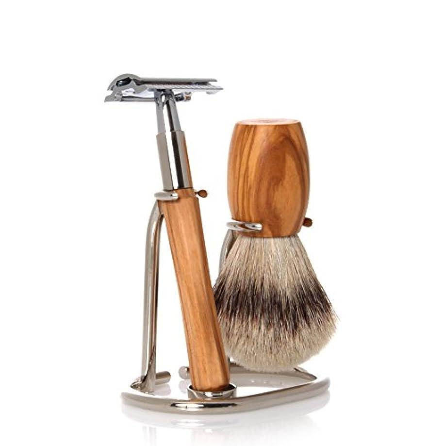 フリンジ繊毛説教GOLDDACHS Shaving Set, Safety razor, Silvertip, olive wood