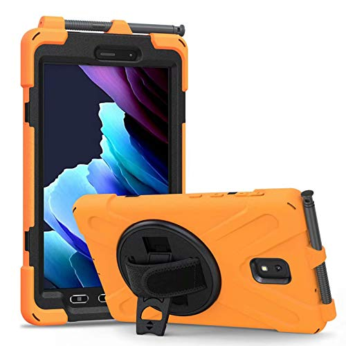 Arlgseln Heavy Duty Case with S Pen Holder, Rugged Hybrid Anti-Shock Protective Cover+Hand Strap Rotating Bracket+Screen Protector Film for Samsung Galaxy Tab Active 3 8.0 SM-T570 T575 T577 (Orange)