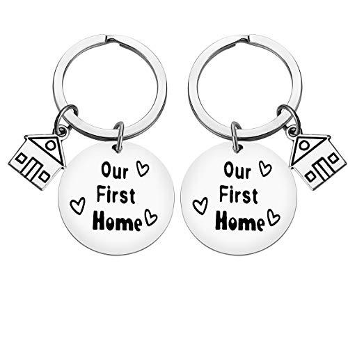 """""""For New Home""""-Schlüsselanhänger, """"Our First Home""""-Schlüsselanhänger, Einweihungsgeschenk für neue Hausbesitzer, Schlüsselanhänger, für neue Hausbesitzer, Schmuck, Realtor, Schließgeschenke (2 Stück)"""