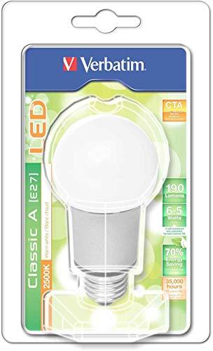 Verbatim 52103 LED CLASSIC A, E27, 6.5W, 2500K, CTA, 190LM, Dimmbar, Blisterpack, warmweiß
