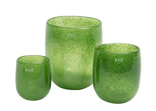 Dutz Collection | Barrel Deko Glas Vase Grün H 18 cm D 14 cm Dschungelgrün Blumenvase Windlicht | Mundgeblasen | Tischdeko Frühling Sommer