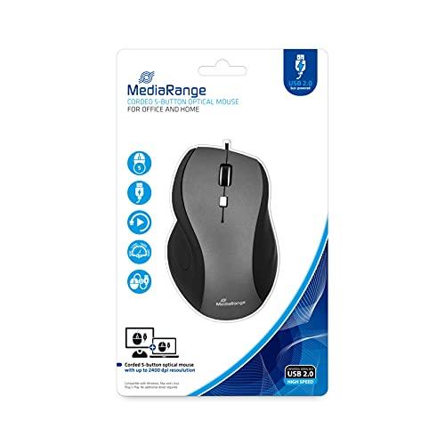 MediaRange MROS202 Optische Maus mit Kabel, 5 Tasten schwarz
