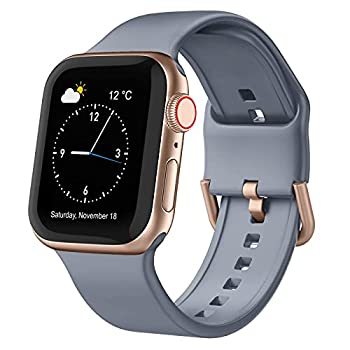 Adepoy Compatible with Apple Watch Bands 44mm 42mm Soft Silicone Sport Wristbands Replacement Strap with Classic Clasp for iWatch Series SE 6 5 4 3 2 1 for Women Men Blue-Grey 42/44mm