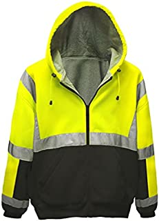 Brite Safety Style 5010 Hi Viz Sweatshirts for Men or Women - Safety Hi Vis Hoodie, 2-Tone Sweatshirt - Thermal Liner, Full Zip 16oz, with 3M Reflective Tape - ANSI 107 Class 3 (L)