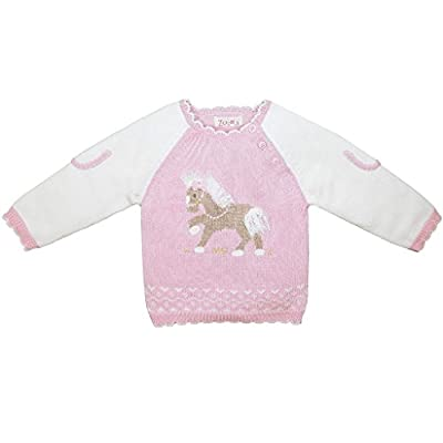 Zubels Baby Girls' Hand-Knit Cotton Pony Sweater, All-Natural, 12 Months, Tan