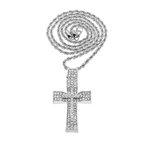 KnSam Unisex Placcato in Argento Ciondolo Collane Bump Croce Preghiera di Gesù con 30In Twist Oro Strass