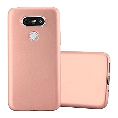 Cadorabo Custodia per LG G5 in ORO ROSA METALLICO - Morbida Cover Protettiva Sottile di Silicone TPU con Bordo Protezione - Ultra Slim Case Antiurto Gel Back Bumper Guscio