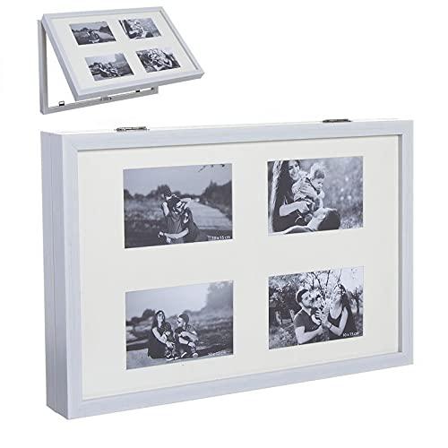 TIENDA EURASIA® Tapa de Contador de Luz Diseño Multi fotos - Cubre Contador Eléctrico de Madera Tapa Abatible (Rectangular 4 Fotos - 48 x 7 x 32 cm, Blanco)