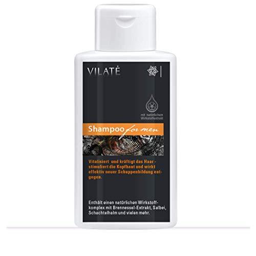 Kräftigendes Herren-Shampoo für dünnes Haar, reduziert Haarausfall, gibt Fülle und Volumen – Haarwaschmittel auch für trockene Kopfhaut – von Vilate