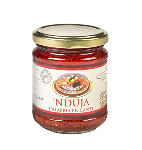 Moretti® Nduja Calabrese Picante Artesano y Original SIN OGM Salami Untable y Cremoso en Tarro de 180gr (1 Pieza)