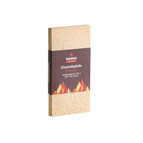 Kamino-Flam - Plancha chamota (25/12,4/2 cm), Placa protectora para chimenea, estufa, horno, Panel aislante, Plancha refractaria, Panel ignífugo - resistente a altas temperaturas hasta 1250°C